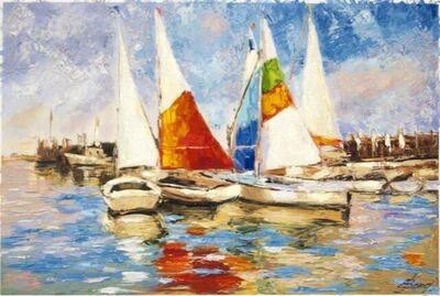 Elena Bond, 'Sailboats At The Dock by Elena Bond (Decorative Framed Fine Art)', N/A