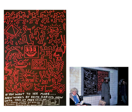 """Keith Haring, '""""Keith Haring 84"""", Tony Shafrazi Gallery, 1984, Exhibition Street Advert Pasteup Poster.', 1984"""