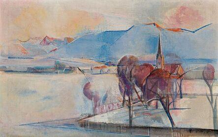 Anton Mahringer, 'Winter Landscape with Church of St. Georgen', 1958