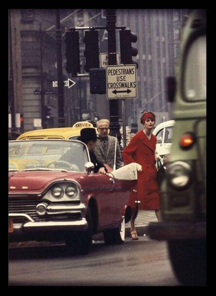 William Klein, 'Anne St. Marie and Cruiser in Traffic, Vogue, NYC', 1962