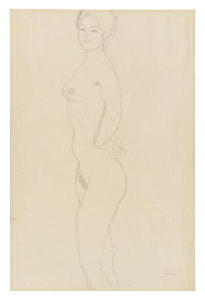 Gustav Klimt, 'Standing Female Nude, Facing Left, with Hand Resting on Hip', 1916-1917