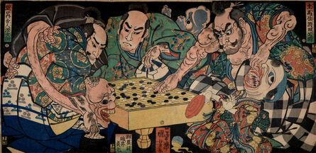 Utagawa Kuniyoshi, 'Earth Spider's Goblins Berge on Raiko's Retainers Game of Go', 1861