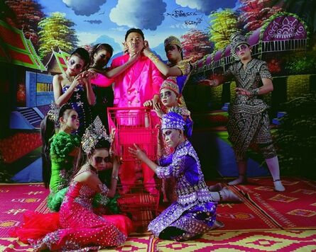 Manit Sriwanichpoom, 'Pink Man Opera 5. A blind man groping to see an elephant with his hands', 2009