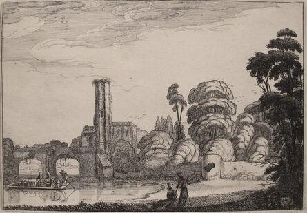 Jan Van de Velde II, 'Ferry in Front of the Stone Bridge', Early 1600s