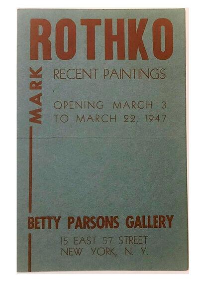 Mark Rothko, ''ROTHKO', Betty Parsons Gallery NYC, Exhibition Announcement/Mailer/Invitation', 1947