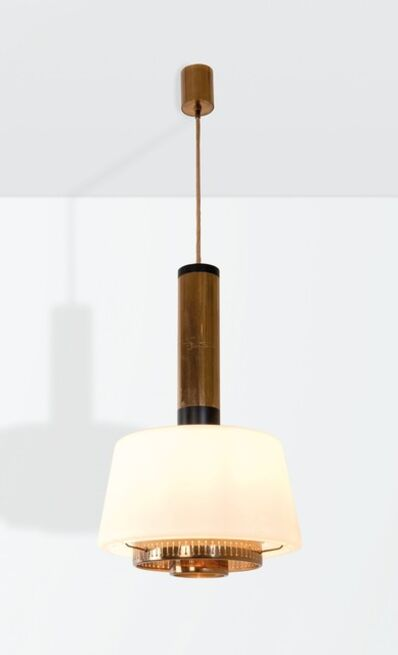 Stilnovo, 'a mod. 1192 pendant lamp with a brass and lacquered brass structure', ca. 1960