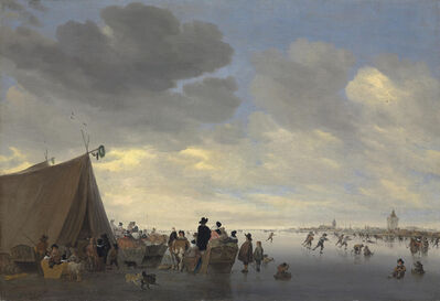 Salomon van Ruysdael, 'Skaters on the frozen river Lek, the town of Vianen beyond', 1653