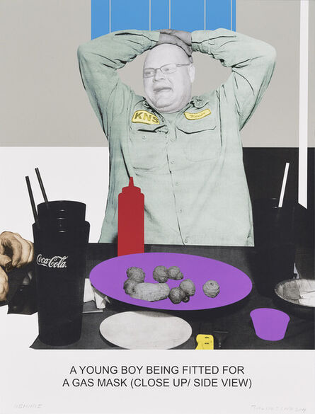 John Baldessari, 'The News: A Young Boy Being Fitted For a Gas Mask...', 2014