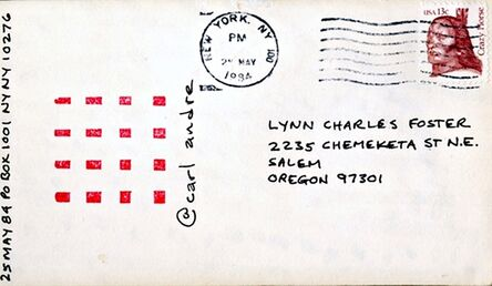 Carl Andre, 'Unique Ink Drawing on postmarked card to artist Lynn Charles Foster', 1984