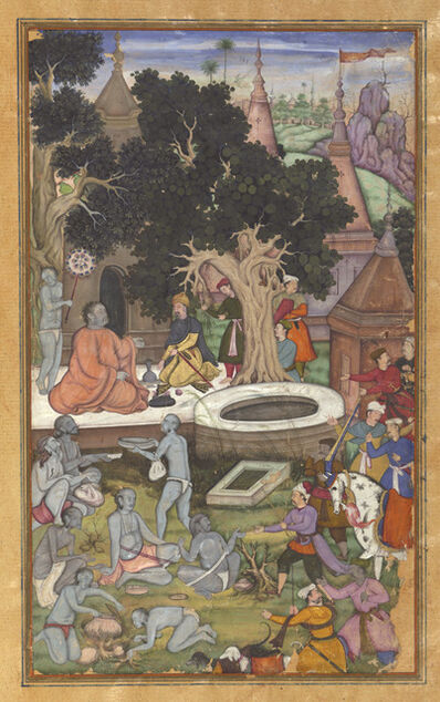 'Babur and his retinue visiting Gor Khatri, page 22b from a manuscript of Baburnama (The Book of Babur)', 1590s