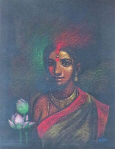 "Subrata Das, 'She, Pastel on Paper, Red, Green Colours by Contemporary Artist ""In Stock""', 2006"