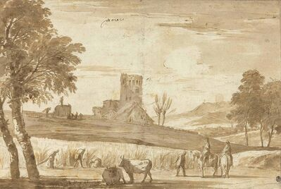 Marco Ricci, 'A landscape with harvesters watched by men on horseback, a castle beyond'