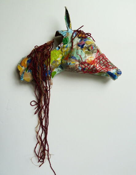 Yulia Shtern, 'Horse - Mixed Media Sculpture of Horse Brown + Blue + Red', 2019