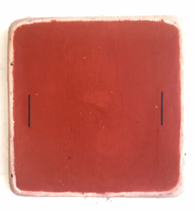 Otis Jones, 'Red Oxide Square with Two Black Lines', 2017