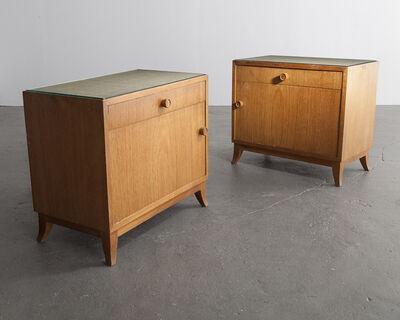 Joaquim Tenreiro, 'Pair of bedside tables in jacaranda with glass tops', 1947