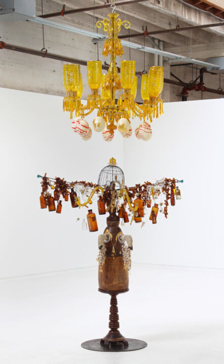 Rina Banerjee, 'Lady of Commerce. Hers is a transparent beauty, her eager sounds, her infinite and clamorous land and river, ocean and island, earth and sky...all contained, bottled for delivery to an open hole, a commerce so large her arms stretched wide and her sulfurous halo', 2012