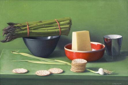 Amy Weiskopf, 'Still Life with Asparagus, Pecorino and Crackers'