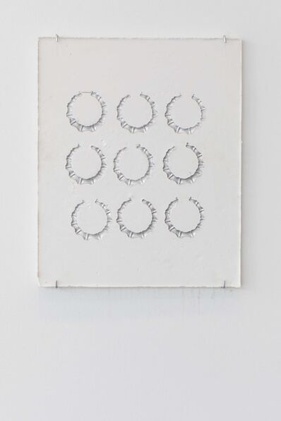 LaKela Brown, 'Round Bamboo Earrings with Silver Sunken Relief', 2018