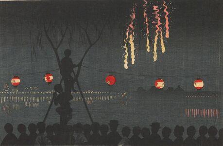 Kobayashi Kiyochika 小林清親, 'Fireworks at Ike-no-Hata', Meiji era-1881