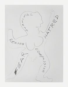 Simone Forti, 'News Animation Drawing - Reason Survival Hatred Compassion', 2012