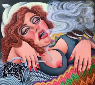 Rebecca Morgan, 'Self-Portrait as Bernini's Ecstasy of Saint Teresa, Face Unwashed, Smoking and Eating Oreos in Bed', 2019