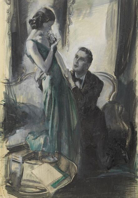 John Lagatta, 'A Woman in a Green Dress with a Man on His Knees Clutching Her', 1938
