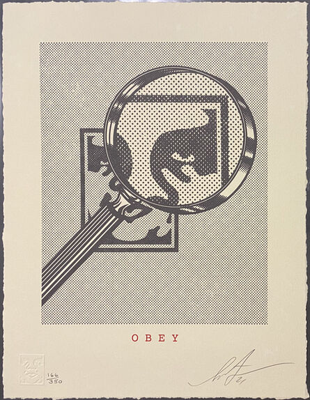 Shepard Fairey, 'Obey Magnifying Glass - Cream', 2021