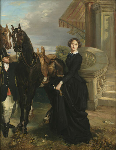 Théodore Chassériau, 'Portrait of Comtesse do Ranchicourt Leaving for the Hunt', 1854
