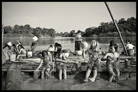 SC Shekar Subrahmanyam, 'Bath time - Children in a boarding school along the lower Baram River bathe before dinner', 2015