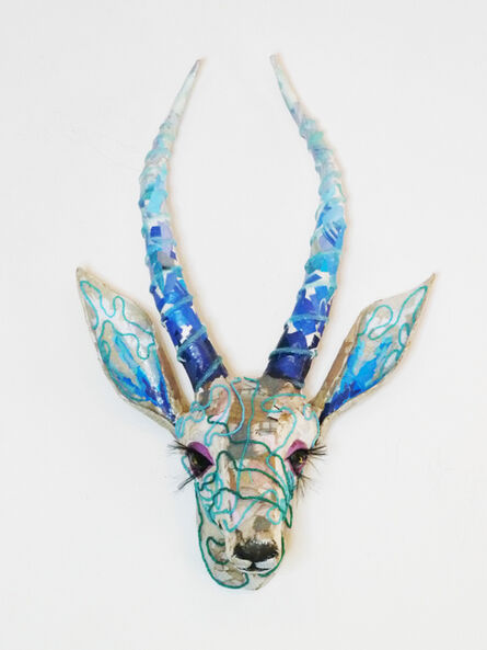 Yulia Shtern, 'Lula - Gazelle Sculpture from Up-Cycled Materials in White + Blue', 2020
