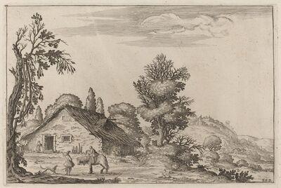 Ercole Bazicaluva, 'Landscape with a Traveler before a Cottage', 1638