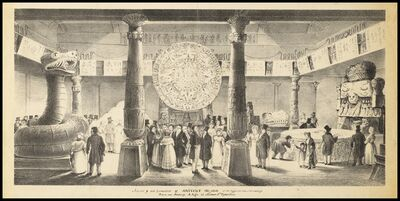 Augustine Aglio after John Flaxman, 'Interior of the exhibition of antient Mexico at the Egyptian Hall Piccadilly', 1845