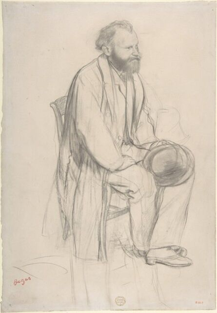 Edgar Degas, 'Édouard Manet, Seated, Holding His Hat', ca. 1865