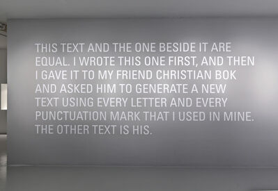 Micah Lexier in collaboration with Christian Bök, 'Two Equal Texts', 2007