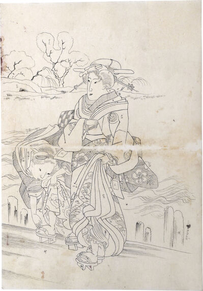 Utagawa Kuniyoshi, 'Preparatory Drawing related to right sheet of triptych 'Spring View with Fashionable Women'', ca. 1829