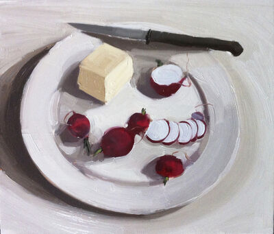 Carrie Mae Smith, 'Radishes, butter and knife on a plate', 2023