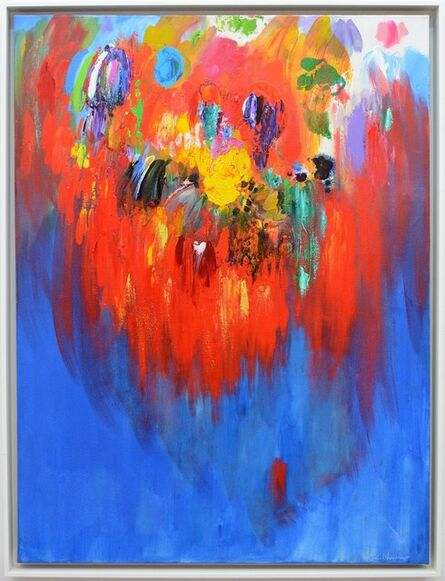 Paul Fournier, 'Firebird Red - bright, bold, blue, yellow, green, abstract, acrylic on canvas', 2014