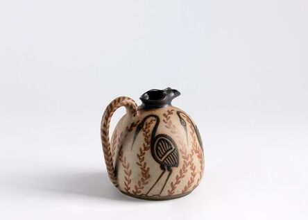 Ciboure Pottery, 'Pitcher Decorated With Birds', France-circa 1945