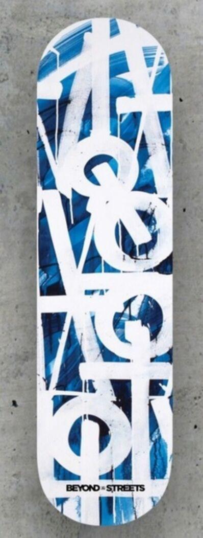 RETNA, 'Skateboard Skate deck (Blue) with embossed COA hand signed by RETNA', 2018