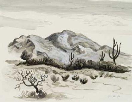 Thomas Hart Benton, 'Three Cacti and Mountain', 1958