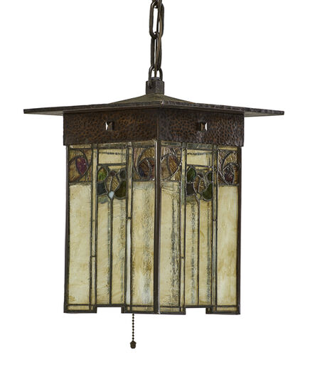 Gustav Stickley, 'Exceptional and rare lantern with stylized flowers', ca. 1905