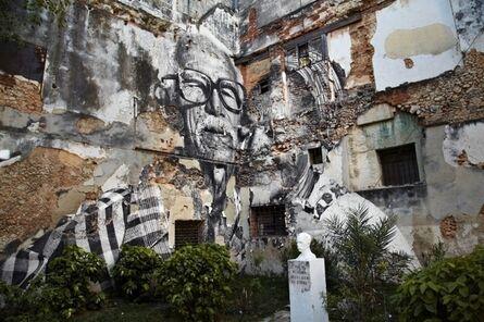 JR, 'The Wrinkles of the City, La Havana, Rafael Lorenzo y Obdulia Manzano, 1 an après (artwork by JR, project by JR & José Parlá) Cuba', 2013