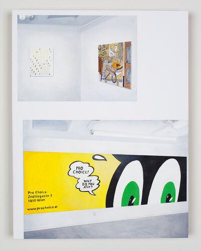 """Jesse Benson, 'Delusionarium 4 Catalog Page Painting 2 (Nathan Hylden """"Untitled"""", 2008, acrylic on canvas, 29"""" x 23""""; Joshua Nathanson """"Lobster and Seagull"""", 2008, acrylic on canvas, 40"""" x 32""""; Will Benedict """"Untitled (Pro Choice)"""", 2008, wall painting)', 2013"""