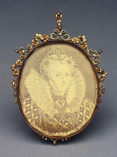 Simon van de Passe, 'England. Elizabeth I engraved medallic portrait in an ornate gold glazed mount with integral loop for suspension.', ca. 1616