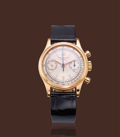 Patek Philippe, '18K pink gold, ref. 1463, round pushers chronograph with original certificate'