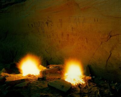 Steve Fitch, 'Fires Beneath A Possible Breech Birth Depiction In Sheik Canyon, Utah, October 11', 1982