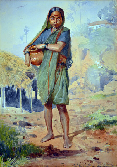 Horace van Ruith, 'An Indian girl carrying a water vessel, Bombay'