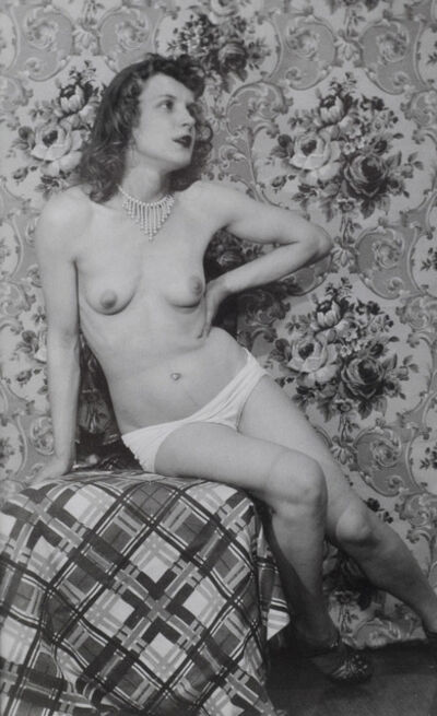 Eugene Von Bruenchenhein, 'Untitled (Marie with white panties seated on plaid draped chair)', ca. 1940