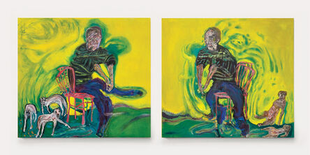 Andrew Litten, 'Seated Man with Animals (Diptych)', 2020