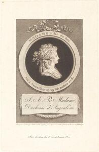 Augustin de Saint-Aubin after Piat Joseph Sauvage, 'Marie-Thérèse-Charlotte, Duchess of Angoulême', 1791